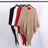 民族風寬鬆套頭毛線針織流蘇披肩斗篷式外套不規則蝙蝠衫秋冬女裝 時尚芭莎