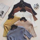 【雙12】全館大促春裝新款正韓五分袖針織衫T恤女短款緊身打底衫短袖上衣