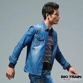 BIG TRAIN 經典牛仔襯衫-男-深藍