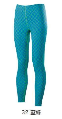 [陽光樂活] MIZUNO 美津濃 女路跑緊身褲 束褲 藍綠 格紋 J2TB573232