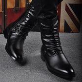 618年㊥大促 秋冬男靴子韓版潮流英男倫高筒靴馬丁靴男士中筒靴內增高尖頭皮靴