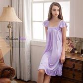 大尺碼睡衣~Annabery粉嫩紫方領小蓋袖睡衣 緞面睡衣 女性衣著 爆款【SV6174】快樂生活網