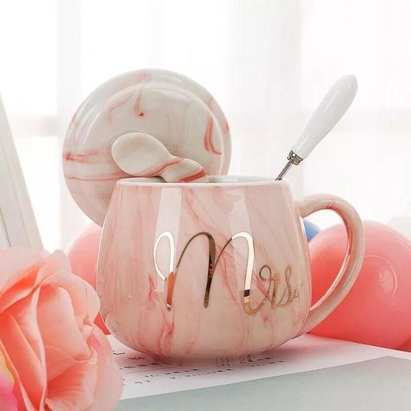 馬克杯 創意馬克杯帶蓋勺潮流個性少女心杯子陶瓷水杯家用情侶牛奶咖啡杯 交換禮物 曼慕