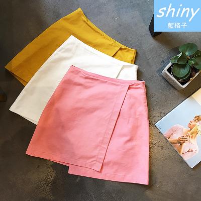 【V1655】shiny藍格子-風格多變.純色高腰不規則開叉A字褲裙