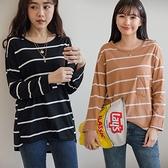 MIUSTAR 正韓-單口袋前短後長條紋棉質上衣(共3色)【NJ2205RR】預購