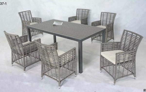 【南洋風休閒傢俱】戶外桌椅系列-鋁製休閒餐桌椅組 戶外餐桌椅組  適 室內 餐廳 庭院 民宿(HT-386)