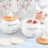 小清新卡通陶瓷杯子 日式貓咪學生馬克杯帶蓋 情侶早餐杯 小水杯 卡布奇诺
