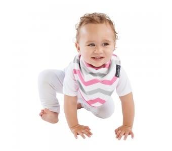 紐西蘭 Mum 2 Mum 雙面時尚造型口水巾圍兜-條紋/桃紅 吃飯衣 口水衣 防水衣