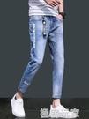九分牛仔褲男春季修身休閒小腳型男士直筒破洞長褲子韓版潮流 極客玩家
