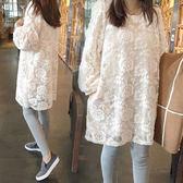 裝春秋季蕾絲長袖上衣2018時尚中長款寬鬆打底衫秋洋裝