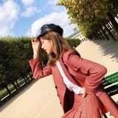 秋冬網紗鴨舌帽全皮革黑色海軍帽女英倫歐美街頭潮【奈良優品】