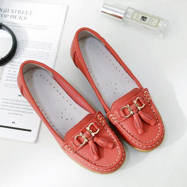 小白鞋-真牛皮流蘇輕楔型樂福鞋