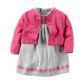 Carter's平行輸入童裝 女寶寶 短袖連衣裙洋裝&薄外套 品紅【CA121G864】