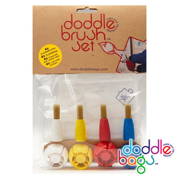 【英國 DoddleBags】彩虹荳荳袋 (刷具組) 4入 WPDO003露營 野餐 嬰幼兒 顏料 刷具 環保 可重複使用