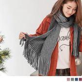 《ZC1293》優雅雙面拼色條紋流蘇圍巾 OrangeBear