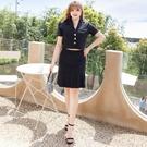 大尺碼洋裝 L-5XL 雪紡西裝收腰裙顯瘦兩件套連衣裙 #wm1208 @卡樂@
