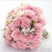 婚紗影樓攝影拍照道具新娘手捧花結婚新款粉玫紅仿真韓式婚禮花束 晴天時尚館