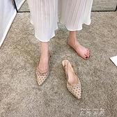 包頭涼鞋女仙女風2021年新款夏天百搭網紗波點尖頭粗跟中高跟鞋夏 米娜小鋪