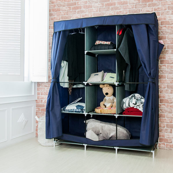 組合衣櫥 衣櫃 超大加寬雙門三排防塵衣櫃 衣架 鞋櫃 收納櫃 置物架 衣物收納箱【A010】