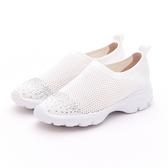 MICHELLE PARK 華麗步調 半版水鑽彈性網面鏤空透氣休閒鞋-白色