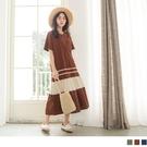 《DA6341》高含棉拼接色塊橫條傘襬長洋裝--適 2L~6L OrangeBear
