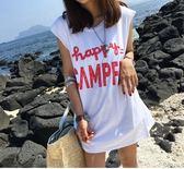 618好康鉅惠無袖背心T恤女字母中長款寬鬆T恤裙打底衫