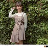 《DA5990》臧芮軒。附腰帶純色拼接格紋假兩件式洋裝 OrangeBear
