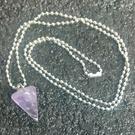 天然晶石 紫水晶 六角錐水晶能量靈擺項鏈