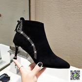 短靴 新款秋冬彈力布襪子靴側拉錬高跟短靴馬丁靴百搭尖頭細跟女靴 歐歐流行館