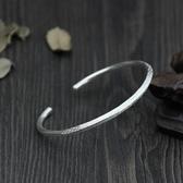 純銀手環(泰銀)-簡約開口生日情人節禮物女手鐲73gg5【時尚巴黎】