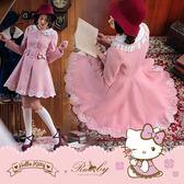 外套 Hello Kitty x Ruby 聯名款.刺繡花瓣邊蝴蝶結傘擺洋裝式大衣外套-Ruby s 露比午茶