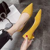 職業鞋低跟鞋 鞋子女新款淺口女鞋高跟鞋尖頭絨面黑色女冬低跟單鞋女工作鞋 city精品