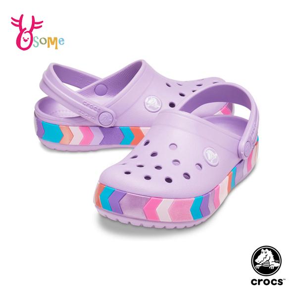 Crocs卡駱馳童鞋 女童洞洞鞋 彩虹條 智必星 園丁鞋 防水布希鞋 涼拖鞋 中大童 A1778#紫色◆奧森
