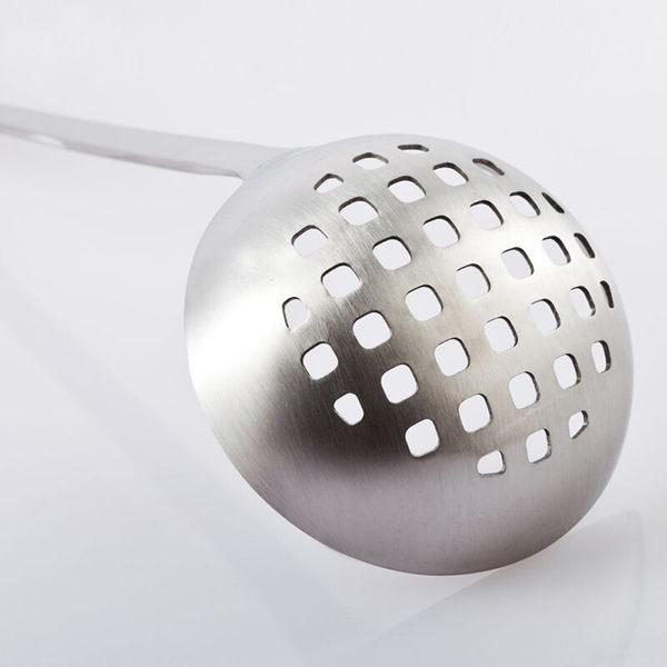 PUSH! 餐具廚房用品加厚不銹鋼湯勺漏勺長柄盛湯勺火鍋勺兩件套裝E56
