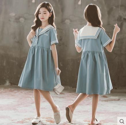 大碼童裝 女童洋裝 夏裝連身裙中大童兒童學院海軍風夏季裙子洋氣小女孩薄款 百分百