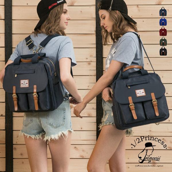 後背包1/2princess防潑水尼龍配真皮4way多隔層超大容量厚片土司包商務包work bag-5色[A2735]