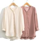 秋裝上市[H2O]小V領泡袖中長版雪紡上衣 - 米卡/粉色 #0655012