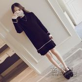 洋裝女秋冬新款韓版學生秋天長袖針織中長款春內搭打底裙子 衣櫥秘密