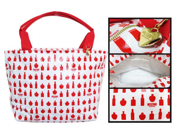 Moschino 櫻桃心 香水圖案 手提旅行包/防水包《Belle倍莉小舖》