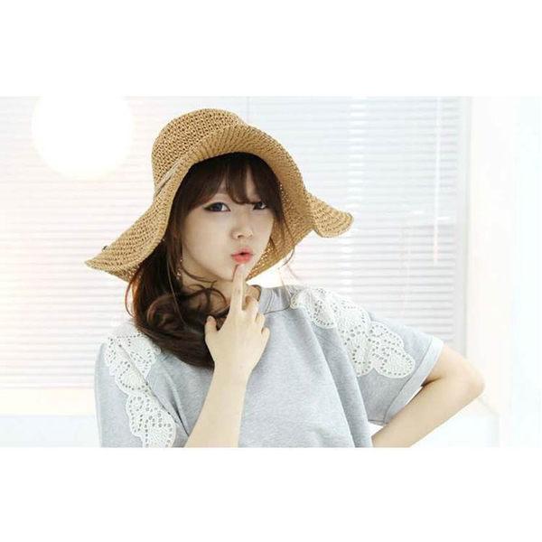 草帽 素色 綁帶 編織 寬帽簷 遮陽 沙灘帽 草帽【CF048】 BOBI  08/03