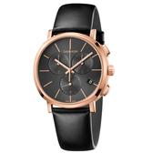 Calvin Klein CK Posh紳士簡約三眼皮帶腕錶(K8Q376C3)43mm