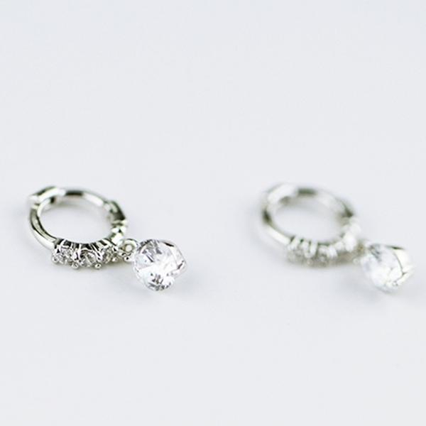 防抗過敏 單排鑽小鑽 天然白水晶 耳圈扣垂墜耳環-銀