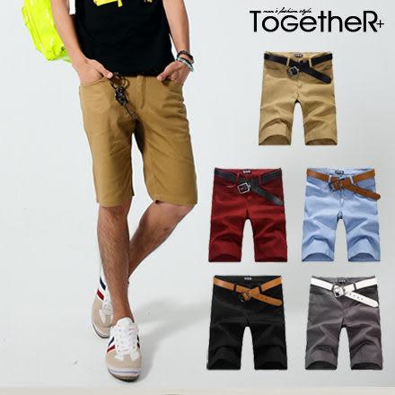ToGetheR+【85711】韓風質感黑釦皮革造型休閒短褲(五色)