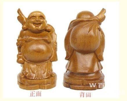彌勒笑佛擺件 助運旺財納福佛像 桃木雕刻