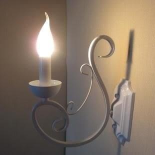 設計師美術精品館地中海壁燈臥室床頭燈白色蠟燭燈鏡前燈浴室鐵藝壁燈田園玄頭壁燈