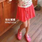 PINKNANA童裝 中大童桃紅色雪紡褲裙 31181