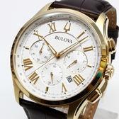 [萬年鐘錶] BULOVA 寶路華  防水 三眼 計時碼錶  白錶面  皮錶帶 男錶  46mm 97B169