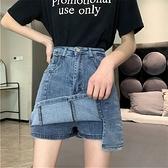 褲裙 半身裙女設計感小眾夏季2021新款高腰顯瘦包臀短裙子a字牛仔裙褲 晶彩