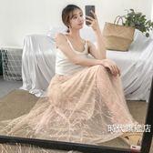 蕾絲裙夏季新品正韓復古網紗釘珠鬆緊腰百搭蕾絲中長版半身裙女紗裙子夏(免運)