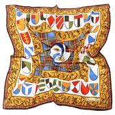 Christian Dior盾牌蘇格蘭格紋飾邊緞面方型絲巾(藍色/棕邊)179004-1